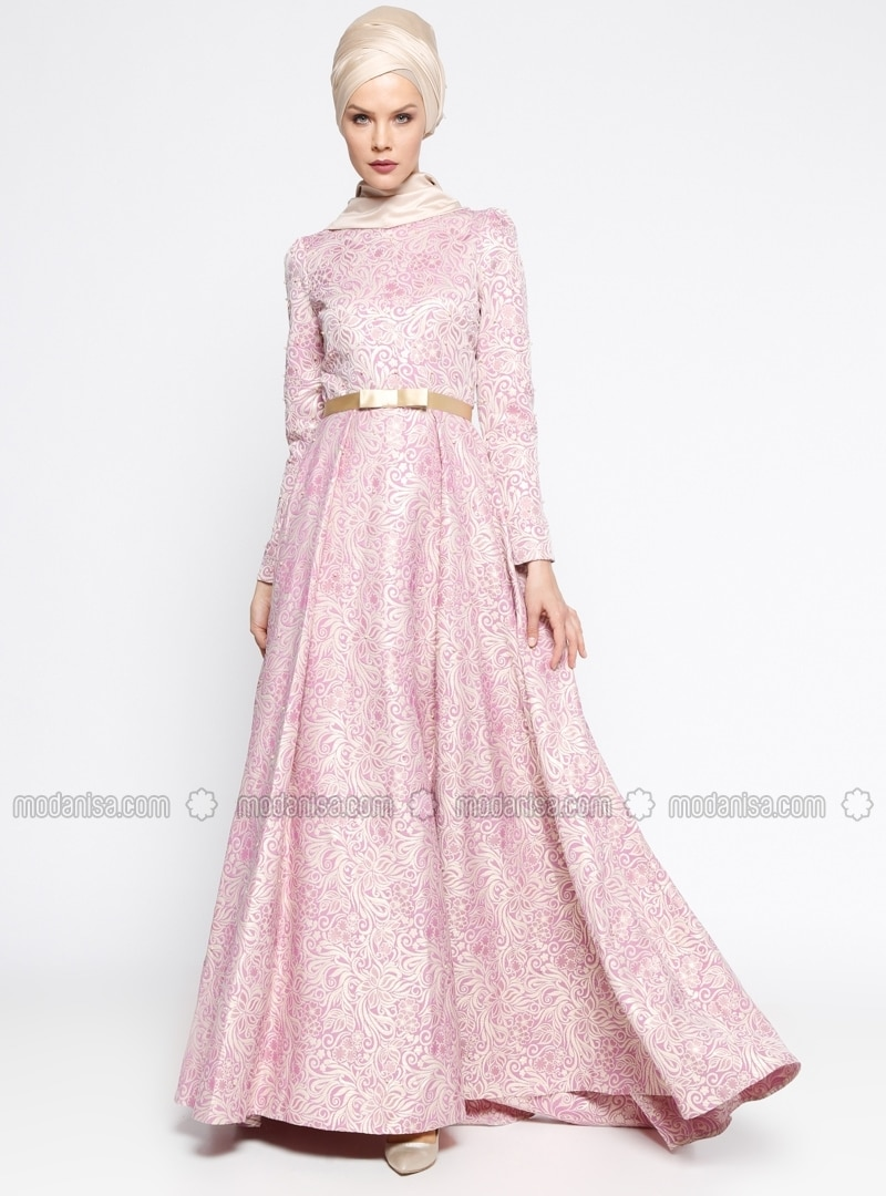 Pink - Multi - Fully Lined - Muslim Evening Dress