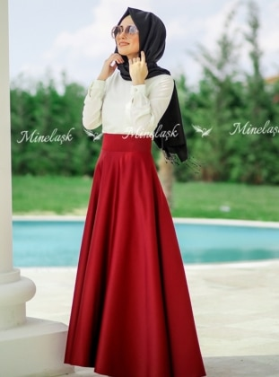 Apartment Skirts - Maroon - Minel Ask 226113