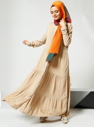 Naturel Kumaşlı Gizli Düğmeli Elbise - Bej