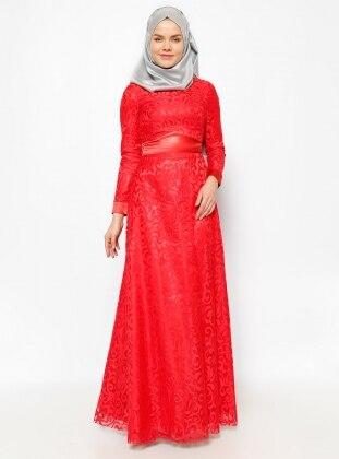 Dantelli Abiye Elbise - Kırmızı Mileny