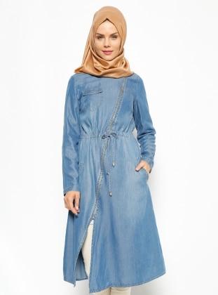 Fermuarlı Tensel Tunik - Koyu Mavi