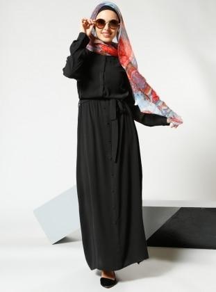 Natural Kumaşlı Düğmeli Elbise - Siyah