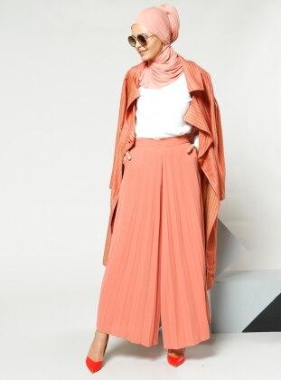 Pliseli Pantolon Etek - Koyu Somon Refka