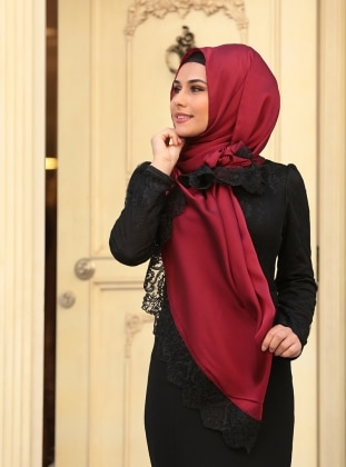 French Chiffon Shawl - Maroon - Black - Zehrace Sal