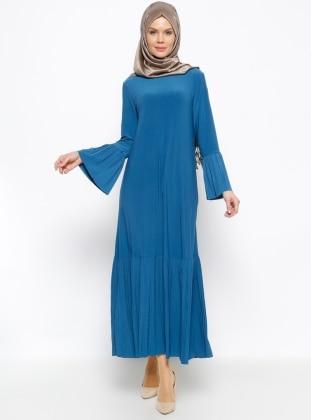 Pilise Detaylı Elbise - Petrol