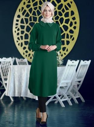 İncili Tunik - Zümrüt Yeşili