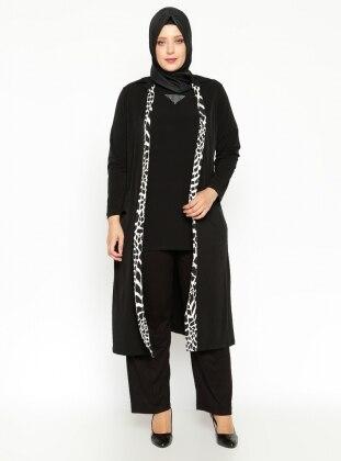Kısa Kollu Bluz&Ceket İkili Takım - Siyah Shine Collection