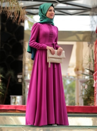 Fuchsia - Purple - Crew neck - Fully Lined - Purple - Crew neck - Fully Lined - Dress