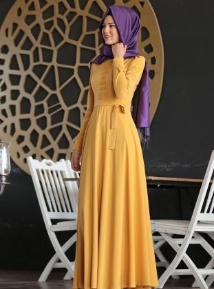 Honeycomb Embroidered Dress - Mustard