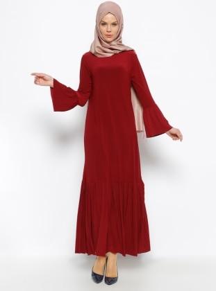 Moonlight Pilise Detaylı Elbise - Bordo