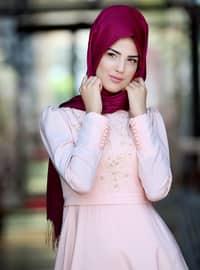 Mahperi Bead Detailed Dress - Powder