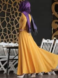 Mustard - Purple - Crew neck - Fully Lined - Yellow - Crew neck - Fully Lined - Dress
