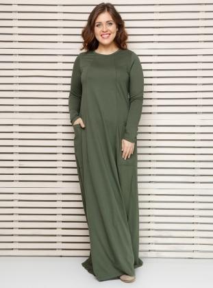 Naturel Kumaşlı Elbise - Haki Alia