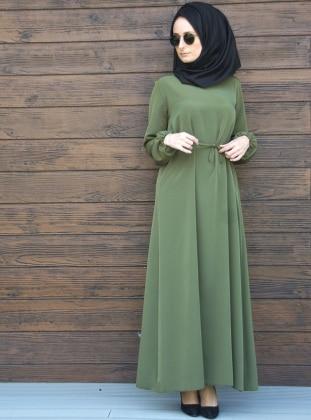Beli Büzgülü Elbise - Haki