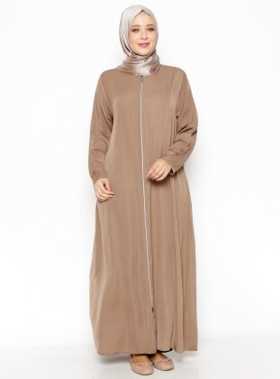 Fermuarlı Ferace - Camel