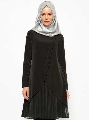 Peçem Ferace Plise Detaylı Tunik - Siyah