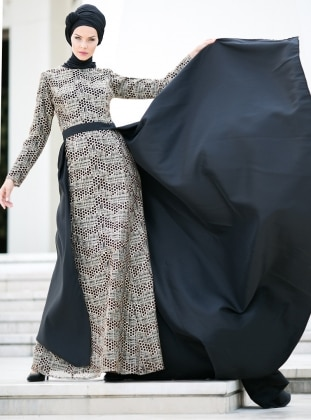 Pul İşlemeli Abiye Elbise - Siyah