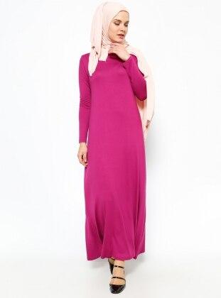 Tek Renk Elbise - Vişne Everyday Basic