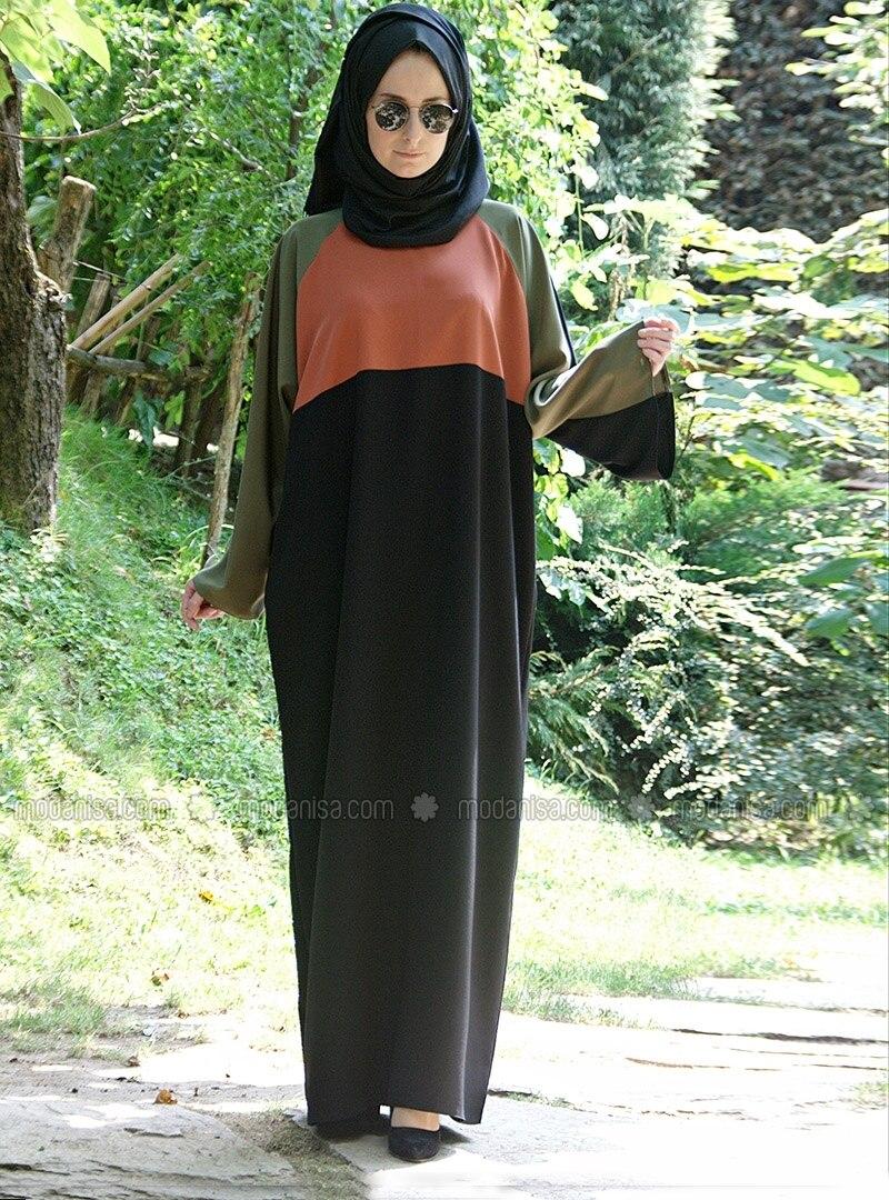Colorful Abaya - Khaki - Black - Melek Aydin