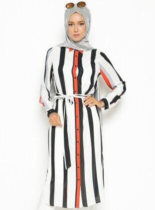 Çizgili Tunik - Mercan Eva Fashion