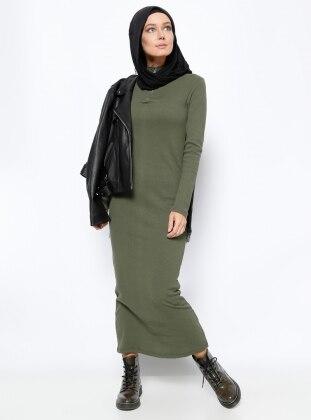 Fermuar Detaylı Elbise - Haki Everyday Basic