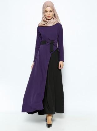 Fiyonklu Elbise - Mor Siyah BÜRÜN