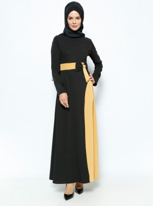 Fiyonklu Elbise - Siyah Hardal