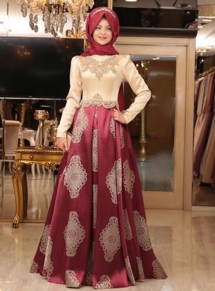 Harem Abiye Elbise - Bordo Pınar Şems