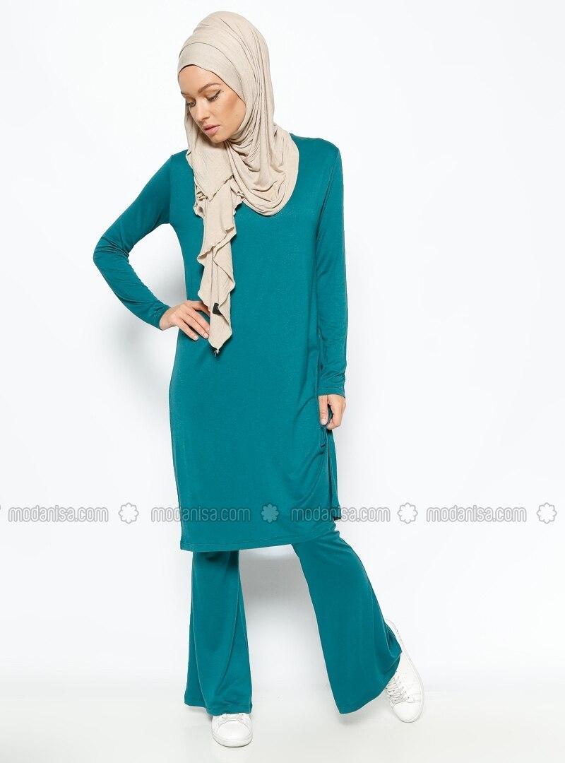 Tunic & Pants Two Takı m - Green - Suits - Modanisa