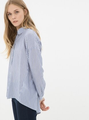 Çizgili Gömlek - Lacivert Koton