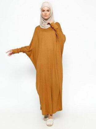 Yarasa Kollu Elbise - Tarçın