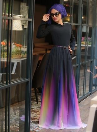 Gökkuşağı Elbise - Siyah