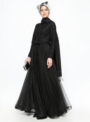 Laced Evening Dress - Black