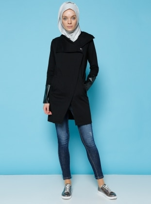 Deri Detaylı Ceket - Siyah Benin