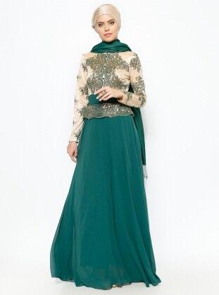 Guipure Detailed Evening Dress - Green - MODAYSA 229173