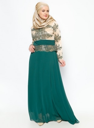 Guipure Detailed Evening Dress - Green - MODAYSA 229181