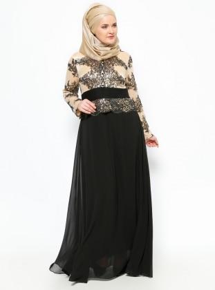 Güpür Detaylı Abiye Elbise -Siyah