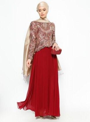 Payetli Abiye Elbise - Gold/Bordo Modaysa