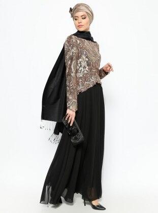 Payetli Abiye Elbise - Gold/Siyah