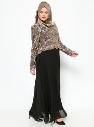 Payetli Abiye Elbise - Gold/Siyah Modaysa