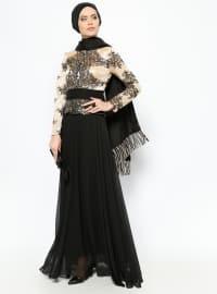 Guipure Detailed Evening Dress - Black