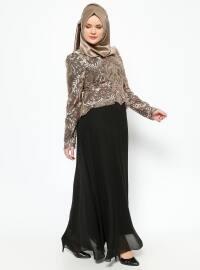 MODAYSA Payetli Abiye Elbise - Gold/Siyah - MODAYSA