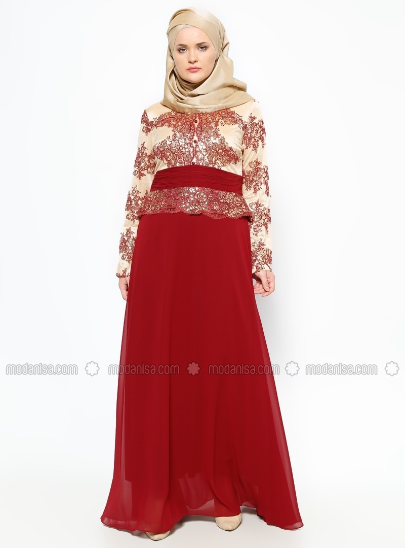 Guipure Detailed Evening Dress - Maroon