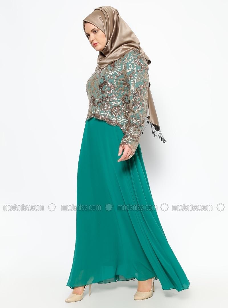 Evening Dress - Gold / Green - MODAYSA