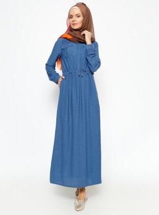 Gizli Düğmeli Elbise - İndigo By Gülay