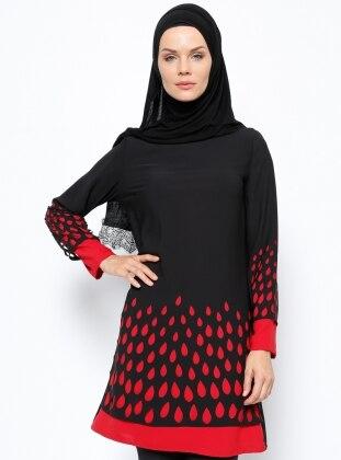 Tuncay Lazer Kesim Detaylı Tunik - Siyah Kırmızı