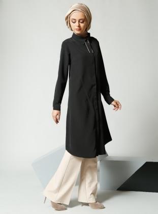 Refka Taş Süslemeli Tunik - Siyah - Refka Women