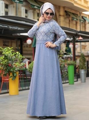 Denim Elbise - Mavi