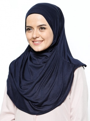 Navy Blue - Viscose - Instant Scarf