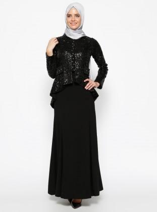 Ceket&Etek Abiye Takım - Siyah Sevilay Giyim